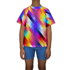 Abstract Background Colorful Pattern Kids  Short Sleeve Swimwear