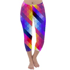 Abstract Background Colorful Pattern Capri Winter Leggings