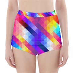 Abstract Background Colorful Pattern High-waisted Bikini Bottoms