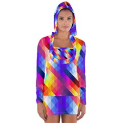 Abstract Background Colorful Pattern Long Sleeve Hooded T-shirt