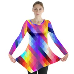 Abstract Background Colorful Pattern Long Sleeve Tunic