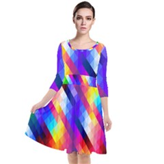 Abstract Background Colorful Pattern Quarter Sleeve Waist Band Dress