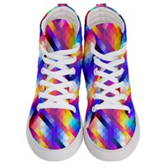 Abstract Background Colorful Pattern Women s Hi Top Skate Sneakers