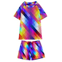 Abstract Background Colorful Pattern Kids  Swim Tee And Shorts Set