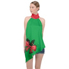 Green Xmas Halter Asymmetric Satin Top With Xmas Bells Decorations Arangement by cglightNingART