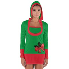 Green And Red Ugly Xmas Long Sleeve Hooded T-shirt With Golden Christmas Bells Decorations Arrangement And Red Ribbon