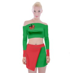 Red And Green Ugly Xmas Off Shoulder Top With Mini Skirt Set With Golden Christmas Bells Decorations Arrangement And Red Ribbon