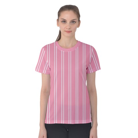 Nice Stripes  In Flamingo Pink Women s Cotton Tee by TimelessFashion