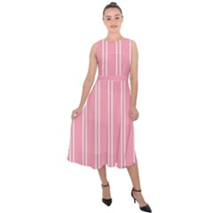 Nice Stripes  In Flamingo Pink Midi Tie Back Chiffon Dress