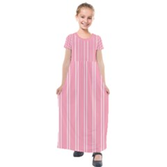 Nice Stripes  In Flamingo Pink Kids  Short Sleeve Maxi Dress