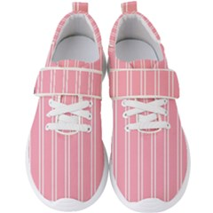 Nice Stripes  In Flamingo Pink Men s Velcro Strap Shoes by TimelessFashion