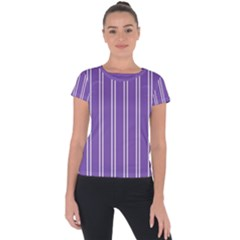 Nice Stripes In Royal Purple Short Sleeve Sports Top