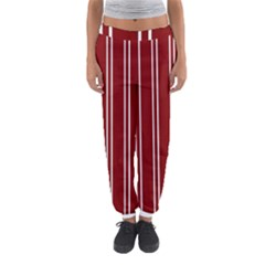 Nice Stripes In Maroon Red Women s Jogger Sweatpants by TimelessFashion