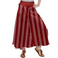 Nice Stripes In Maroon Red Satin Palazzo Pants