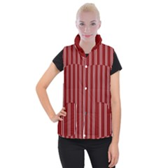 Nice Stripes In Maroon Red Women s Button Up Vest by TimelessFashion