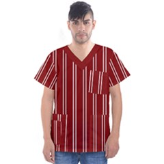 Nice Stripes In Maroon Red Men s V Neck Scrub Top by TimelessFashion