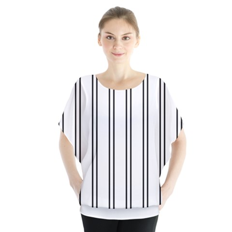 Nice Stripes In White  Batwing Chiffon Blouse by TimelessFashion