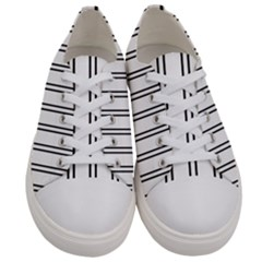 Nice Stripes In White  Women s Low Top Canvas Sneakers