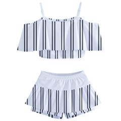 Nice Stripes In White  Kids  Off Shoulder Skirt Bikini