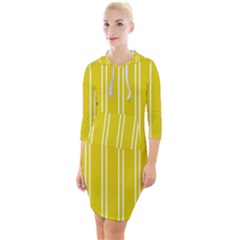 Nice Stripes In Corn Yellow  Quarter Sleeve Hood Bodycon Dress