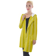 Nice Stripes In Corn Yellow  Hooded Pocket Cardigan