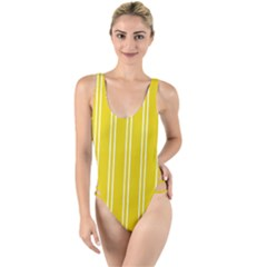 Nice Stripes In Corn Yellow  High Leg Strappy Swimsuit by TimelessFashion