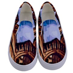 Street Architecture Building Kids  Canvas Slip Ons