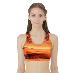Field Sunset Orange Sky Land Sports Bra With Border by Pakrebo