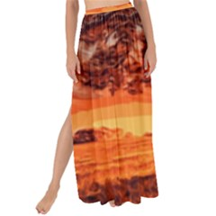 Field Sunset Orange Sky Land Maxi Chiffon Tie Up Sarong