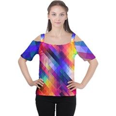 Abstract Background Colorful Pattern Cutout Shoulder Tee