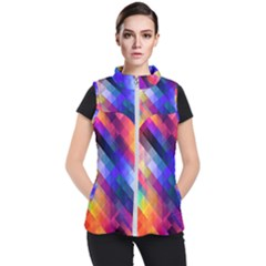 Abstract Background Colorful Pattern Women s Puffer Vest by Pakrebo