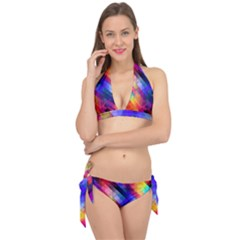Abstract Background Colorful Pattern Tie It Up Bikini Set
