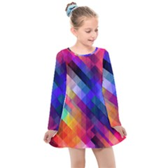 Abstract Background Colorful Pattern Kids  Long Sleeve Dress by Pakrebo