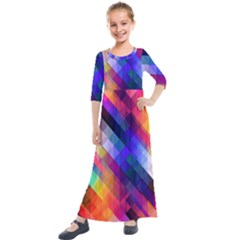 Abstract Background Colorful Pattern Kids  Quarter Sleeve Maxi Dress by Pakrebo