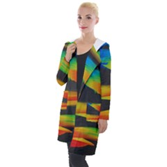 Colorful Background Hooded Pocket Cardigan