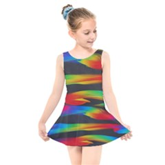 Colorful Background Kids  Skater Dress Swimsuit