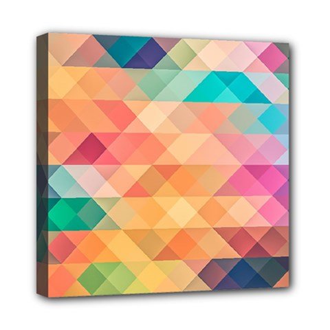 Texture Background Squares Tile Mini Canvas 8  X 8  (stretched)