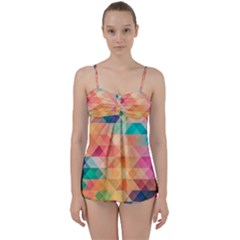 Texture Background Squares Tile Babydoll Tankini Set
