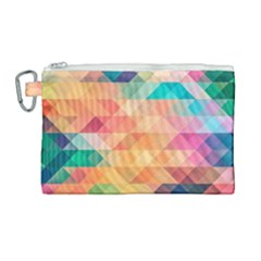 Texture Background Squares Tile Canvas Cosmetic Bag (large)