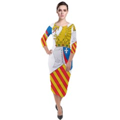 Flag Map Of Valencia Quarter Sleeve Midi Velour Bodycon Dress