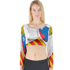 Flag Map Of Valencia Long Sleeve Crop Top by abbeyz71