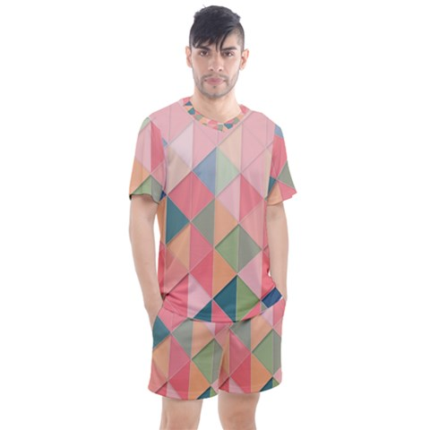 Background Geometric Triangle Men s Mesh Tee And Shorts Set by Pakrebo