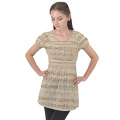 Vintage Beige Music Notes Puff Sleeve Tunic Top