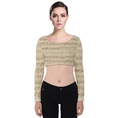 Vintage Beige Music Notes Velvet Long Sleeve Crop Top