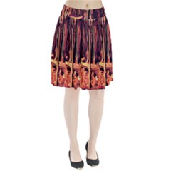 Forest Autumn Trees Trail Road Pleated Skirt