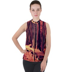 Forest Autumn Trees Trail Road Mock Neck Chiffon Sleeveless Top