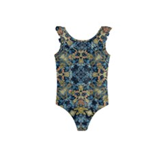 Seamless Texture Ornate Kids  Frill Swimsuit