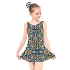 Seamless Texture Ornate Kids  Skater Dress Swimsuit