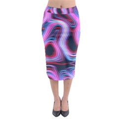 Pattern Color Curve Movement Midi Pencil Skirt