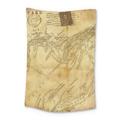 Vintage Map Background Paper Small Tapestry